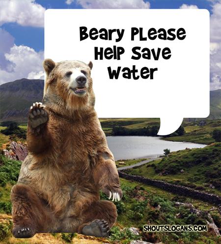 beary please help save water