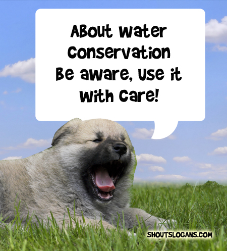 About water conservation be aware, use it with care.